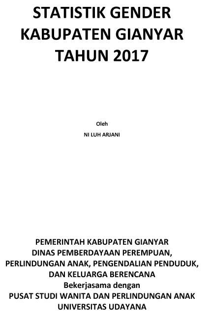 Statistik Gender Kabupaten Gianyar Tahun 2017